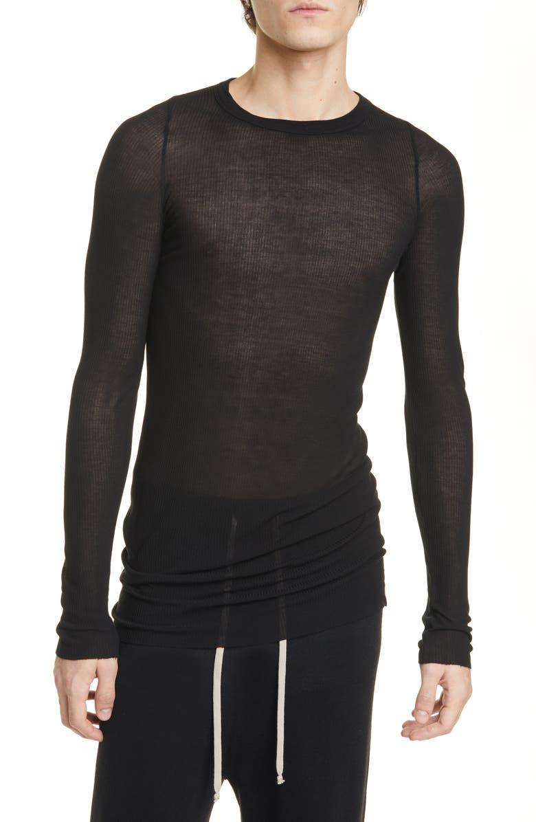 RICK OWENS Ribbed Long Sleeve T-Shirt, Main, color, BLACK