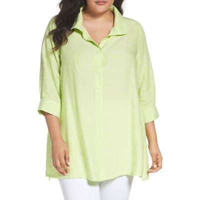 Plus Size Foxcroft Linen Chambray Tunic, Green