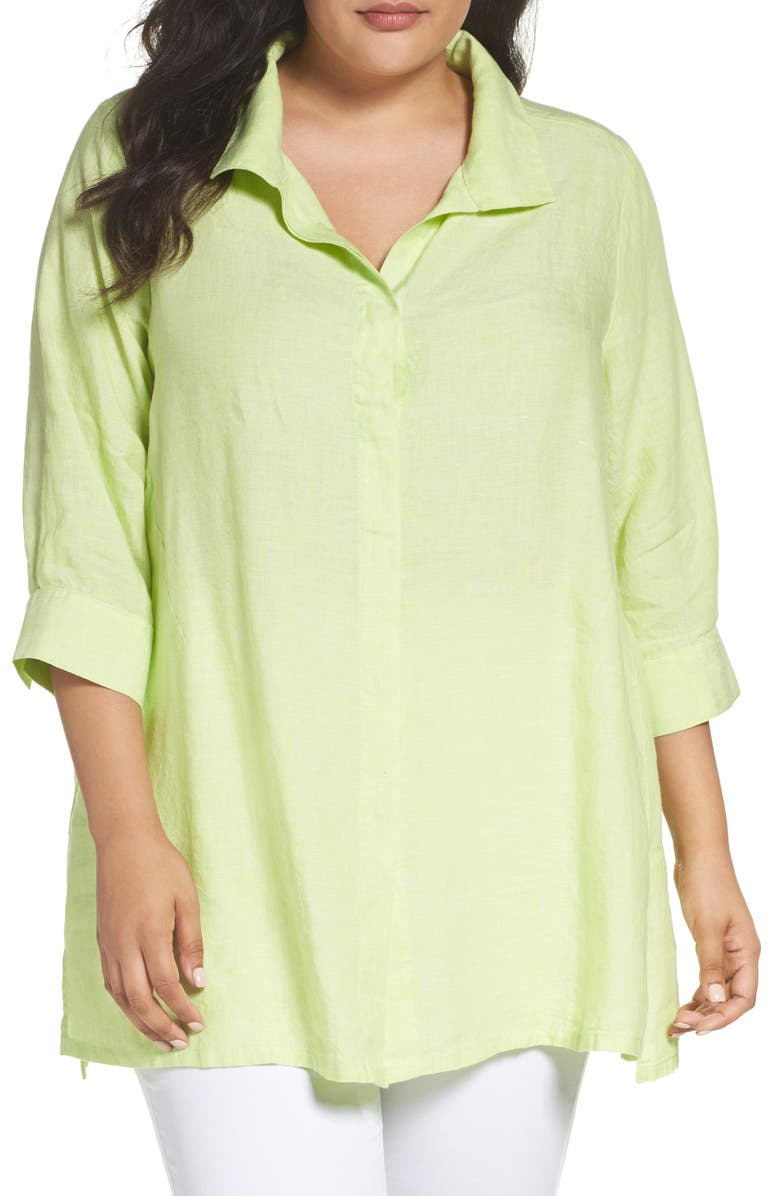 FOXCROFT Linen Chambray Tunic, Main, color, KEY LIME