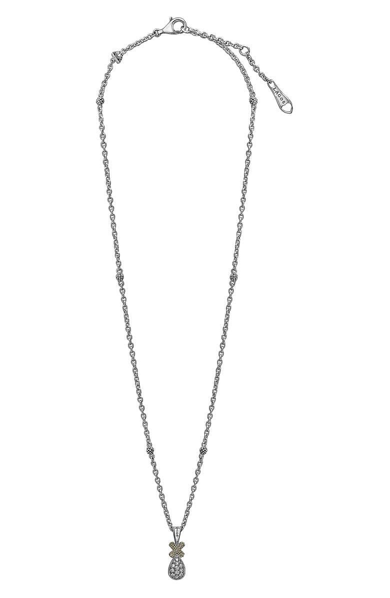 LAGOS Caviar Diamond Lux Drop Pendant Necklace, Main, color, TWO TONE/ DIAMOND