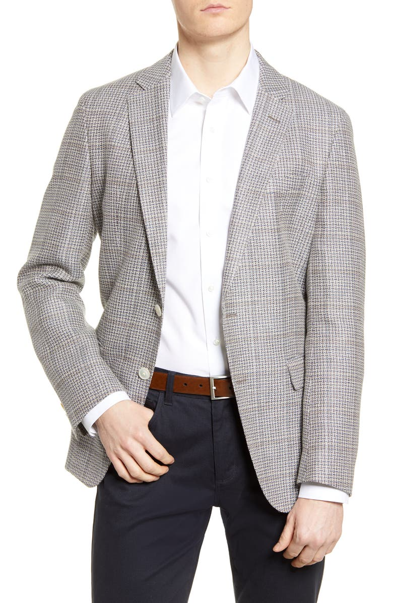 BOSS Hartlay Trim Fit Check Wool & Linen Sport Coat, Main, color, GREY