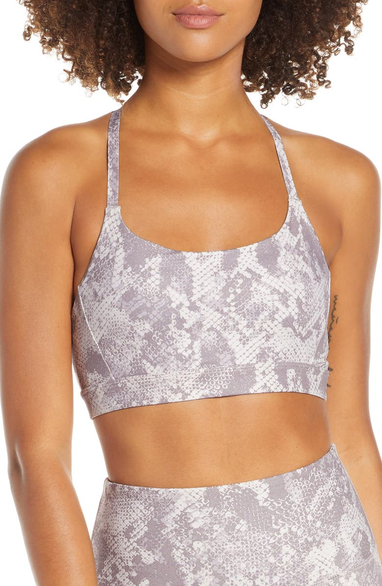 ZELLA Know Your Angle Longline Sports Bra, Main, color, GREY BARK EDEN PRINT
