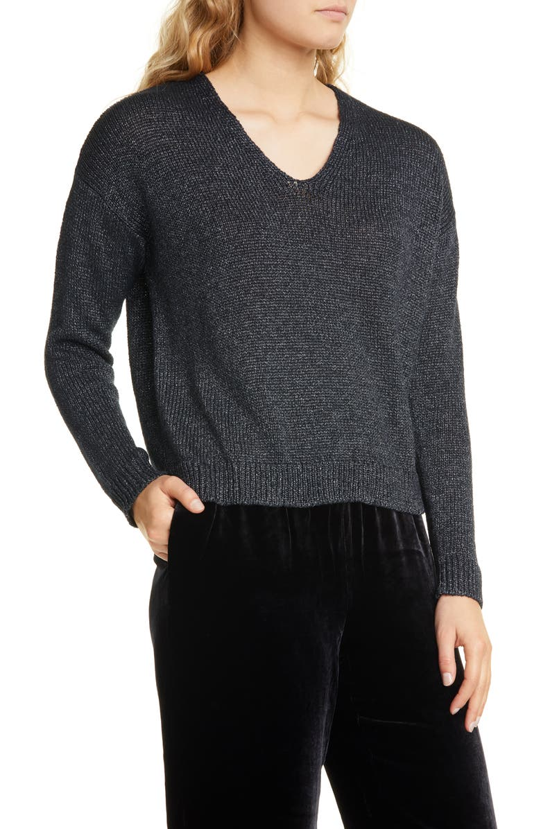 EILEEN FISHER V-Neck Organic Linen Blend Sweater, Main, color, BLACK