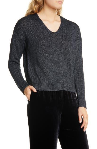 Eileen Fisher Sweaters V-NECK ORGANIC LINEN BLEND SWEATER