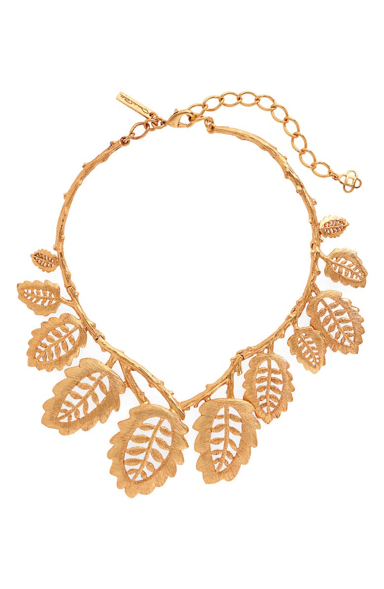 OSCAR DE LA RENTA Bischoff Lace Leaf Necklace, Main, color, GOLD
