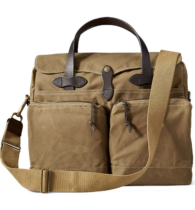 FILSON '24 Hour' Tin Cloth Briefcase, Main, color, DARK TAN