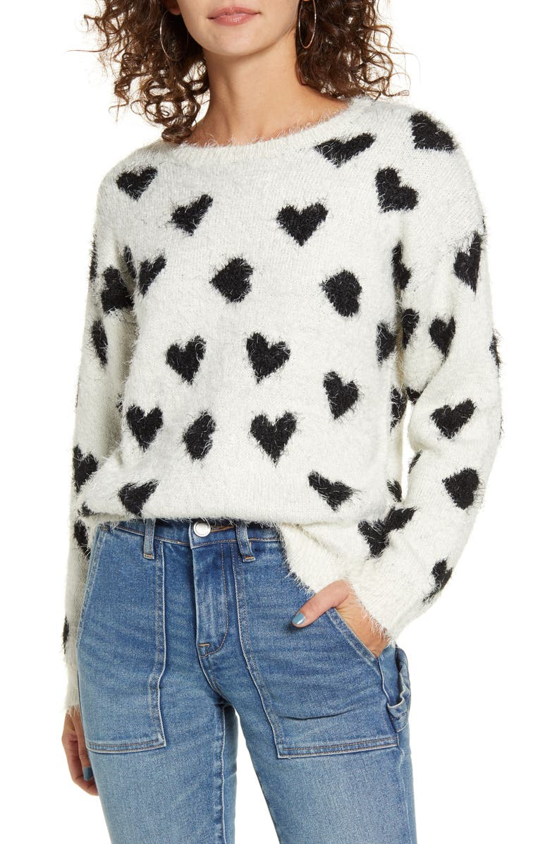 COTTON EMPORIUM Heart Eyelash Sweater, Main, color, WHITE WITH BLACK