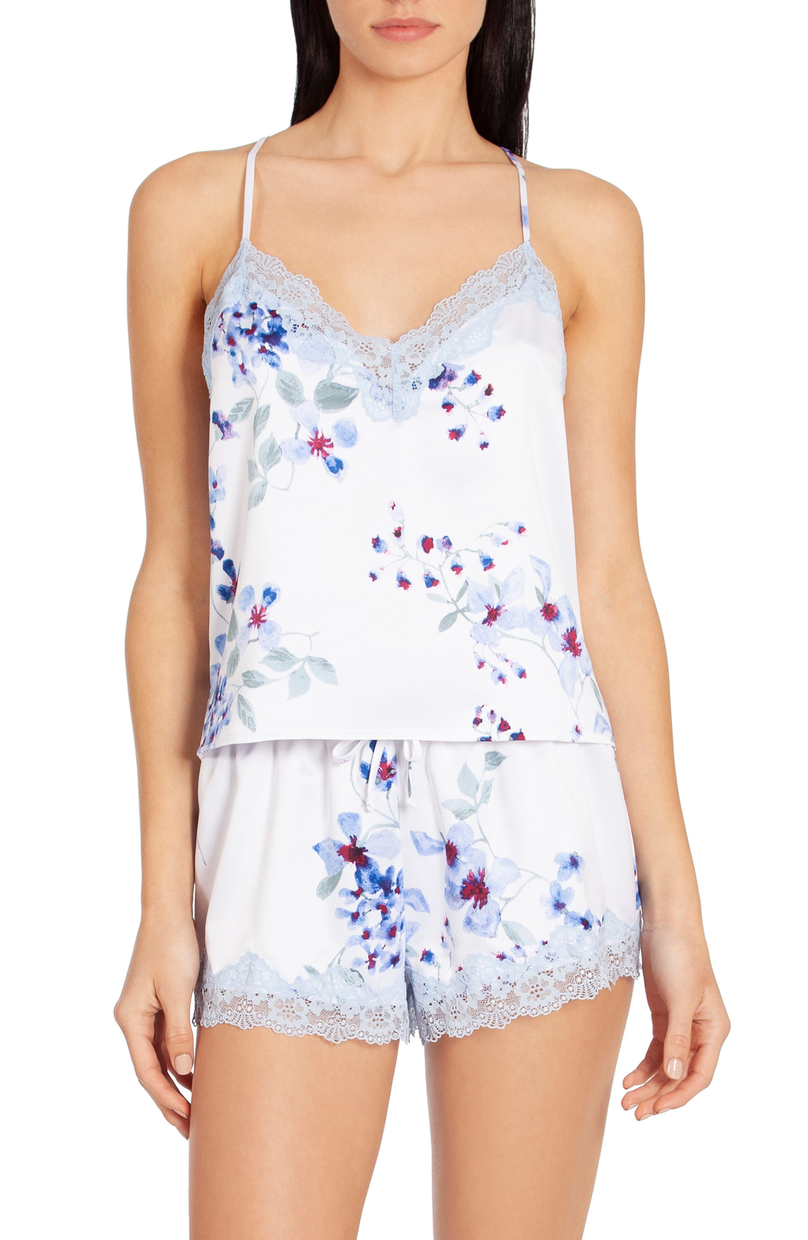 In Bloom By Jonquil Satin Short Pajamas, Blue