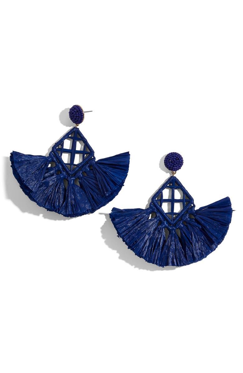 BAUBLEBAR Sahari Fringe Drop Earrings, Main, color, BLUE