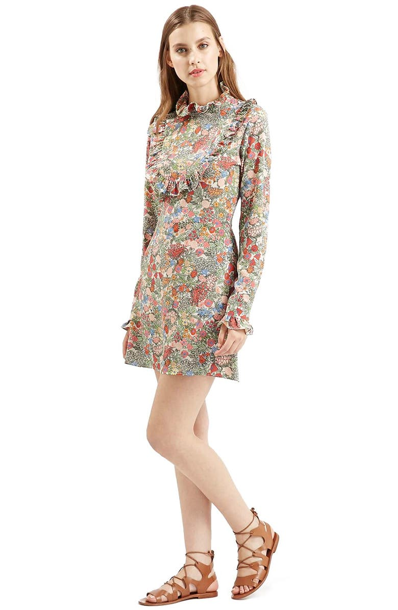 TOPSHOP 'Doll' Floral Print Ruffle Dress, Main, color, 300
