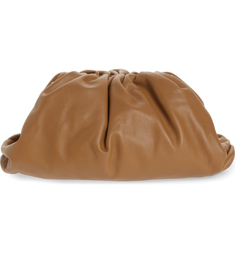 BOTTEGA VENETA The Pouch Leather Clutch, Main, color, CAMMELLO/ GOLD