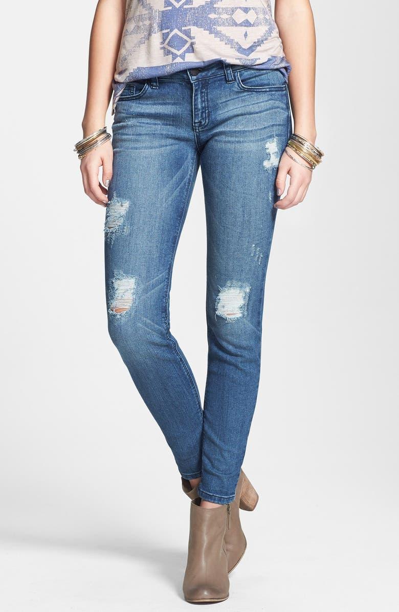 SP BLACK Destroyed Low Rise Skinny Jeans, Main, color, 400