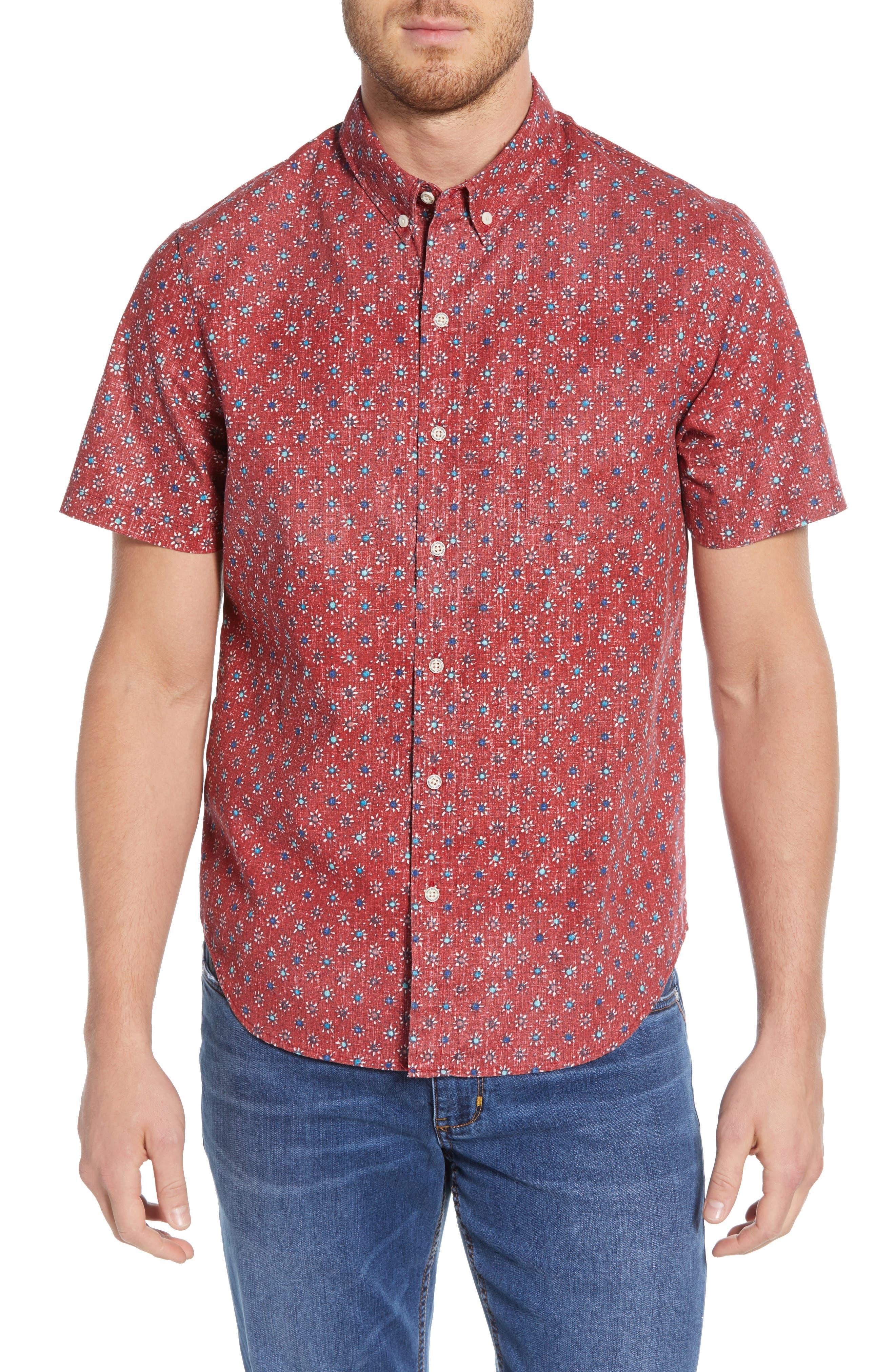 Reyn Spooner Java Flowers Regular Fit Sport Shirt, Red