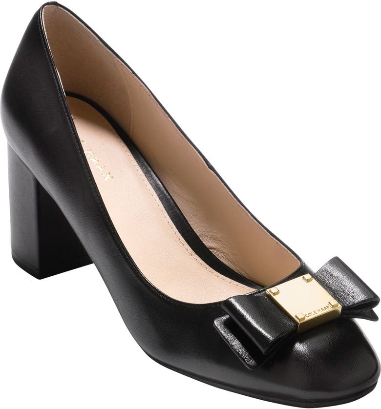 COLE HAAN Tali Bow Pump, Main, color, BLACK LEATHER