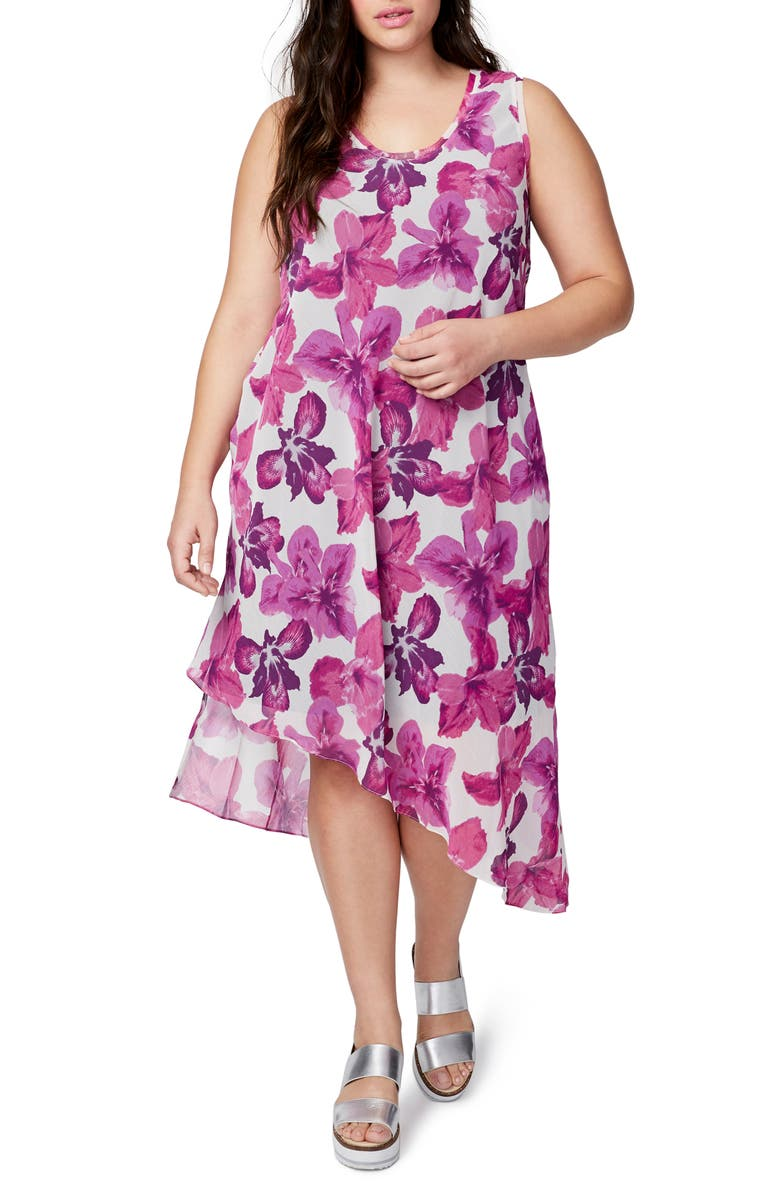 RACHEL RACHEL ROY Asymmetrical Floral Midi Dress, Main, color, 697