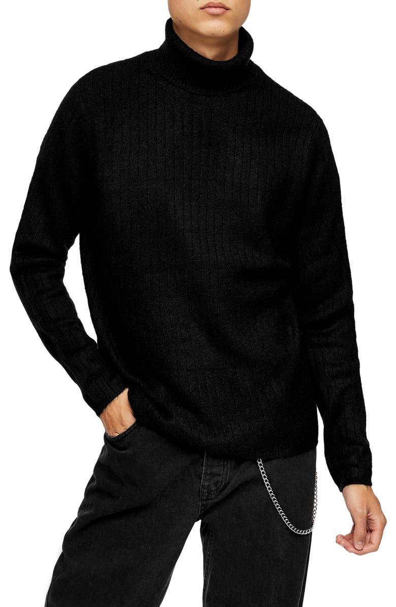 TOPMAN Harlow Ribbed Turtleneck Sweater, Main, color, 001