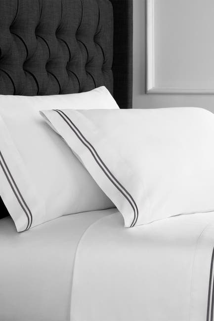Image of Melange Home Queen 600 Thread Count Cotton 2 Stripe Embroidered Sheet 4-Piece Set