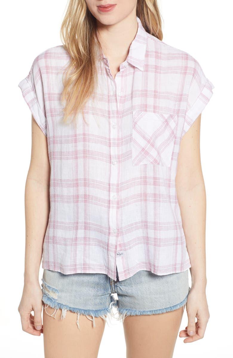 RAILS Whitney Plaid Shirt, Main, color, WHITE ROSE