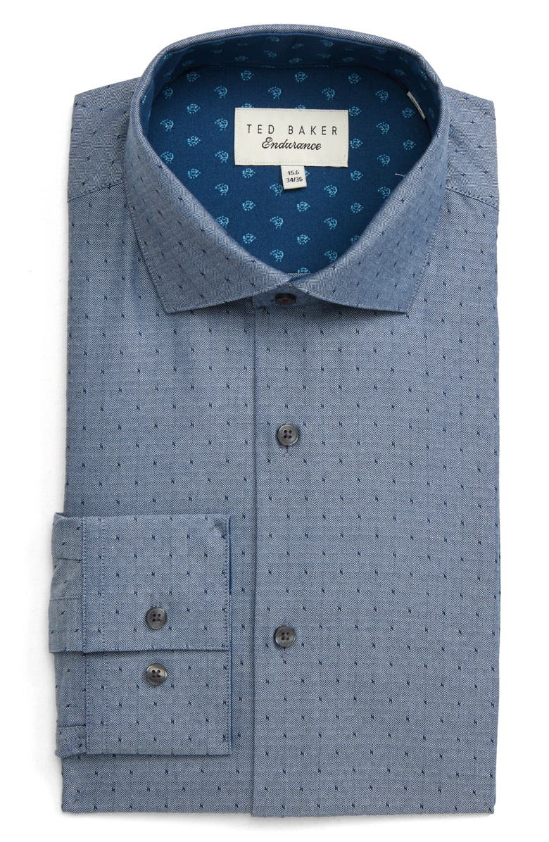 TED BAKER LONDON Reefe Trim Fit Dot Dress Shirt, Main, color, 410