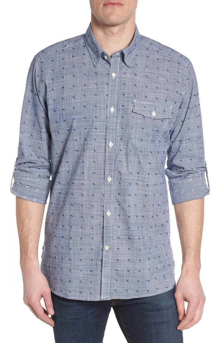 BARBOUR Beluga Regular Fit Check Sport Shirt, Main, color, NAVY