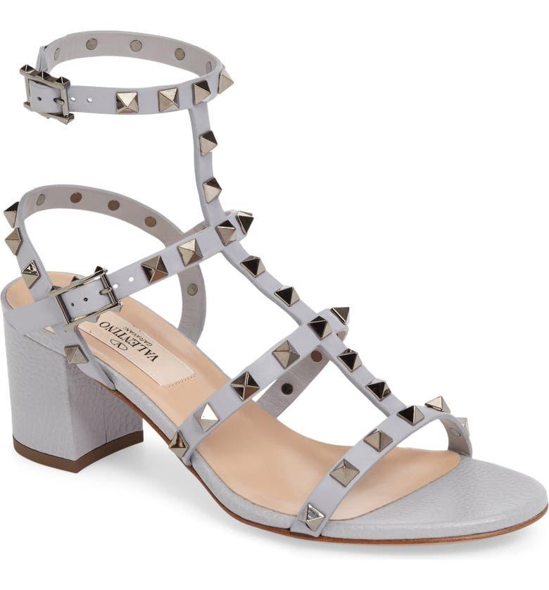 VALENTINO Rockstud Block Heel Sandal, Main, color, 030