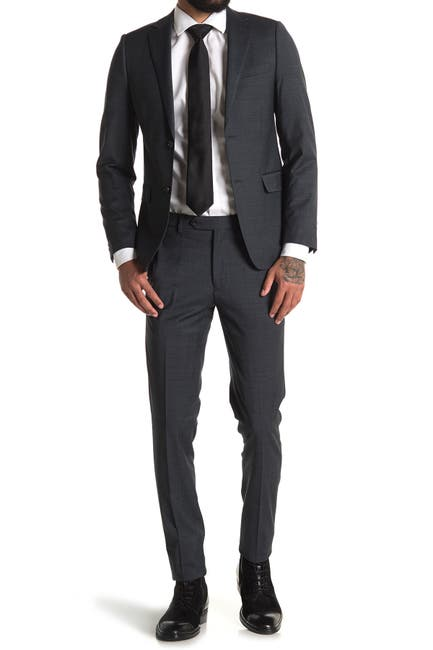 Image of Calvin Klein Green Sharkskin Two Button Notch Lapel Suit