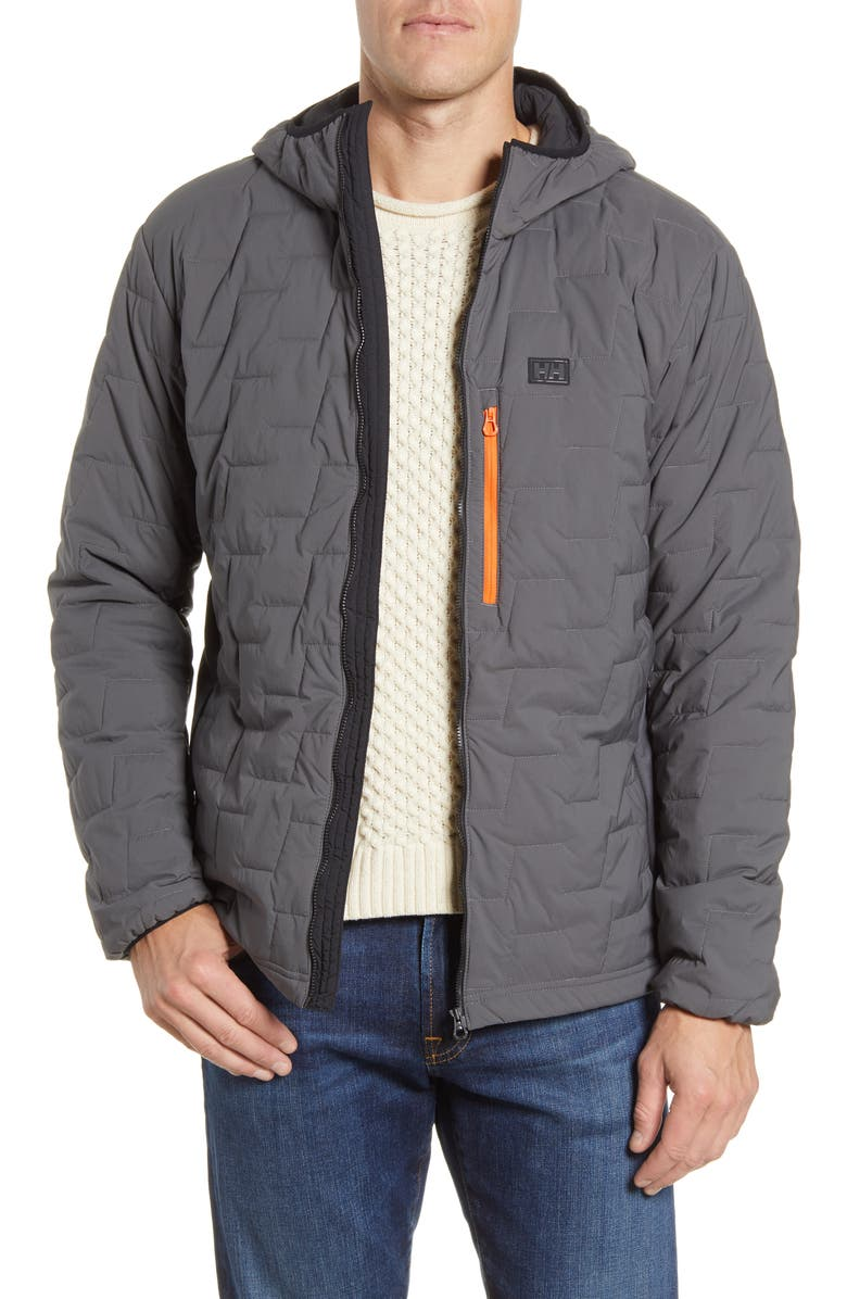 HELLY HANSEN Lifaloft Hooded Stretch Insulated Jacket, Main, color, CHARCOAL