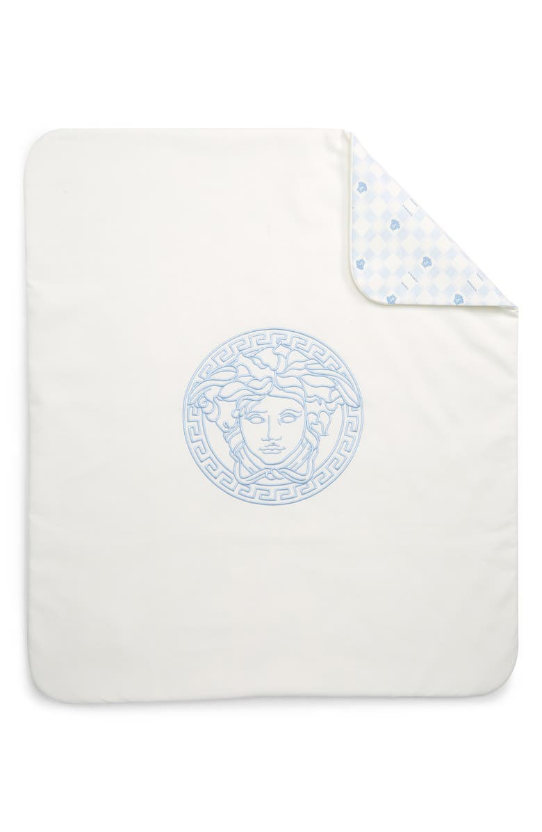 VERSACE Damier Print Baby Blanket, Main, color, 5112 WHITE BLUE
