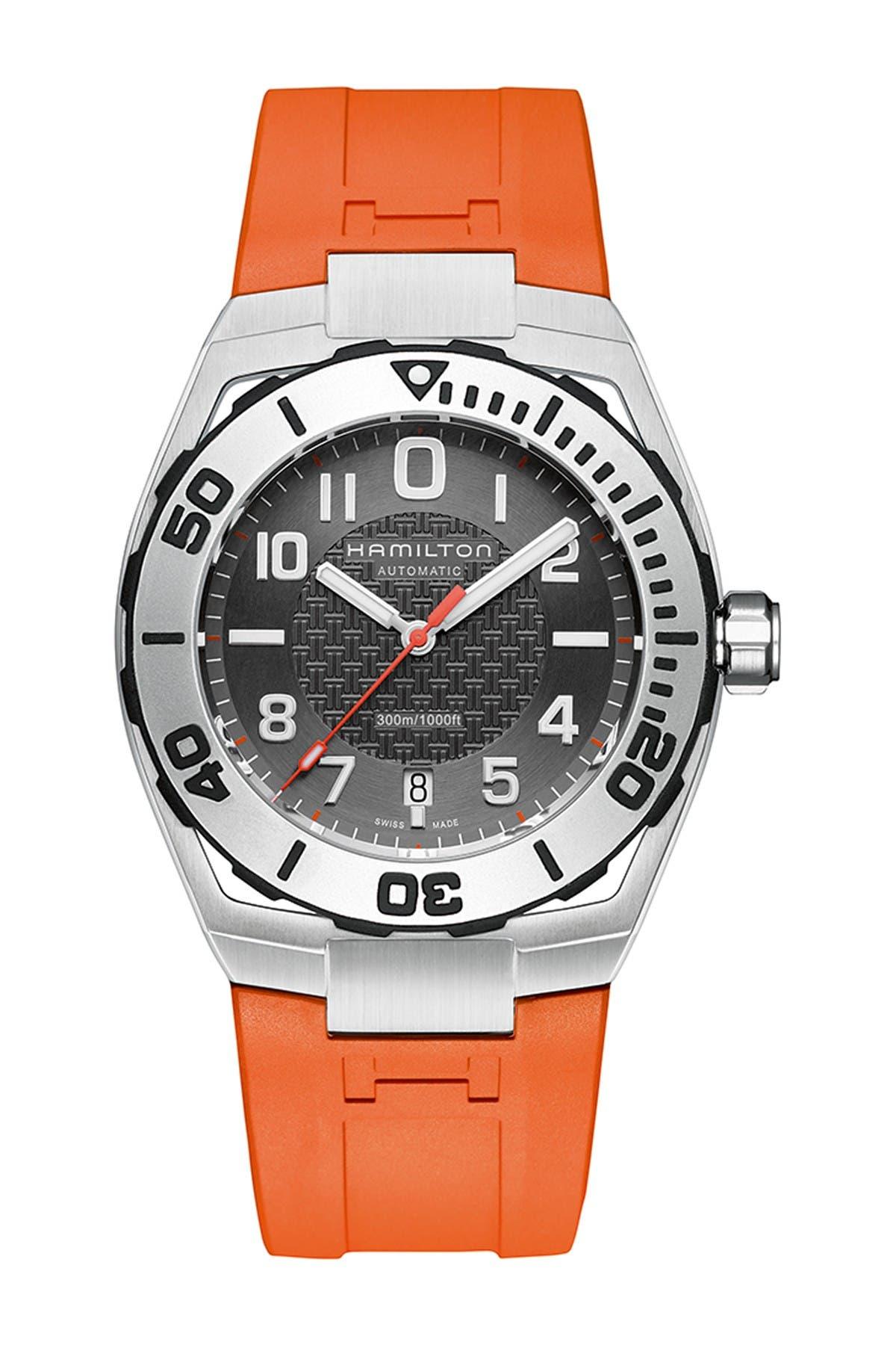 Image of Hamilton Men's Khaki Navy Rubber Watch, 42mm