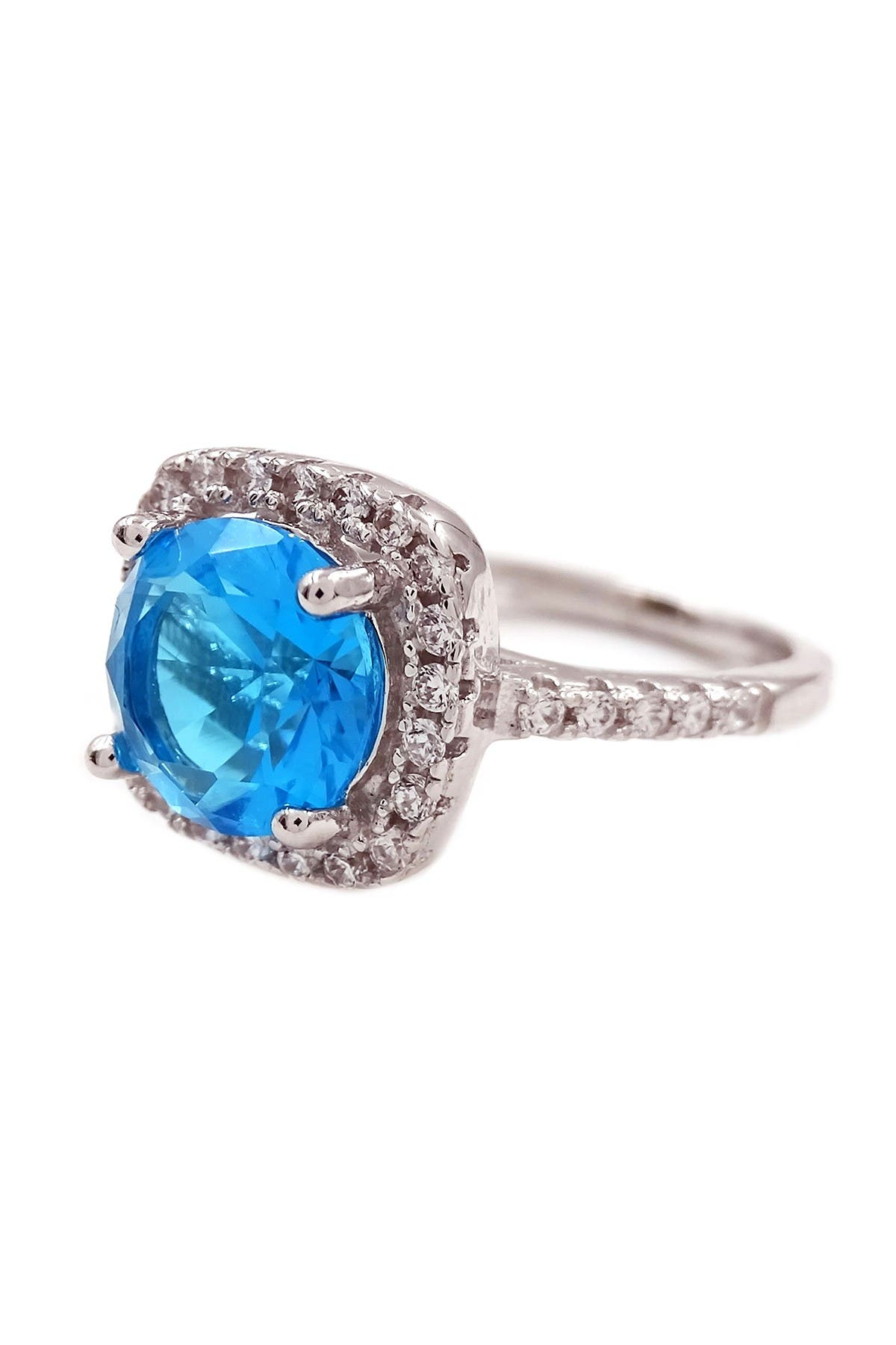 Image of Savvy Cie Sterling Silver Cushion Blue Topaz Cocktail Ring