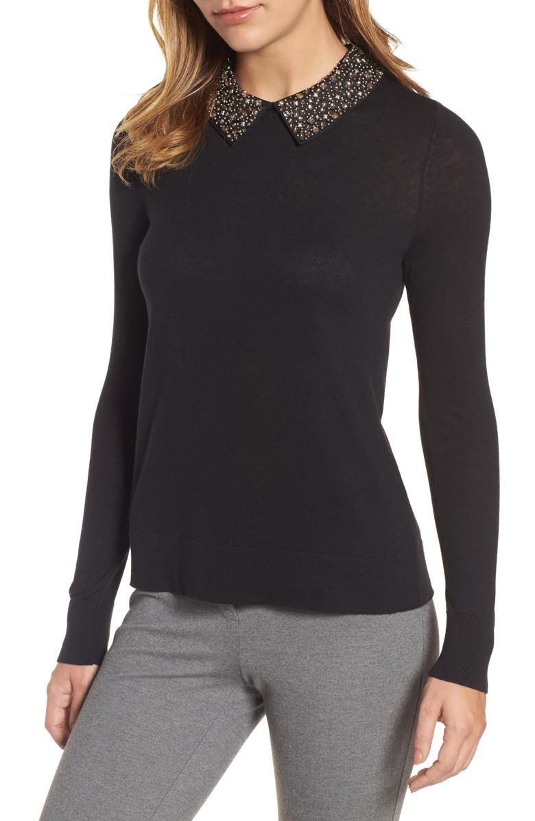 HALOGEN<SUP>®</SUP> Embellished Collar Sweater, Main, color, 001