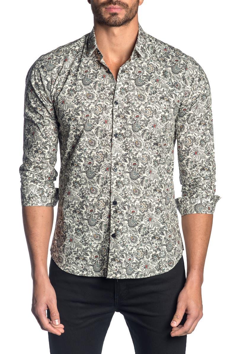JARED LANG Slim Fit Floral Button-Up Sport Shirt, Main, color, OFF WHITE FLORAL