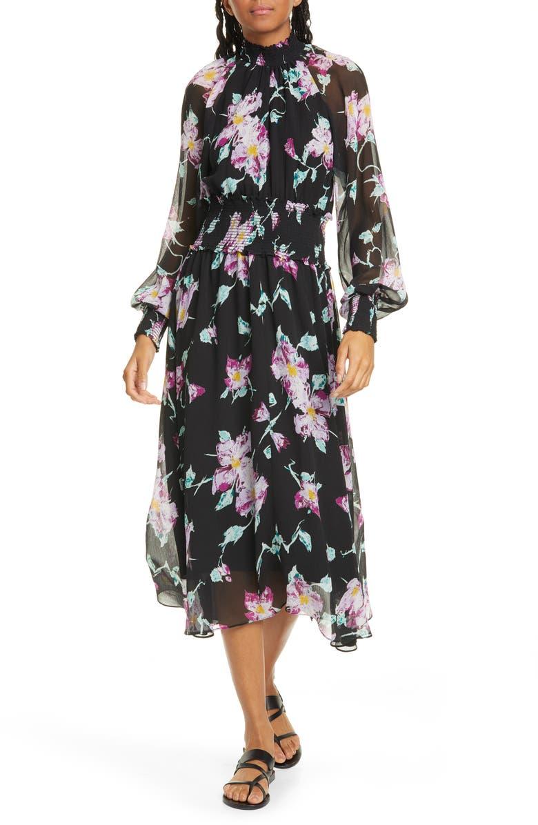 A.L.C. Casey Floral Long Sleeve Silk Midi Dress, Main, color, 003