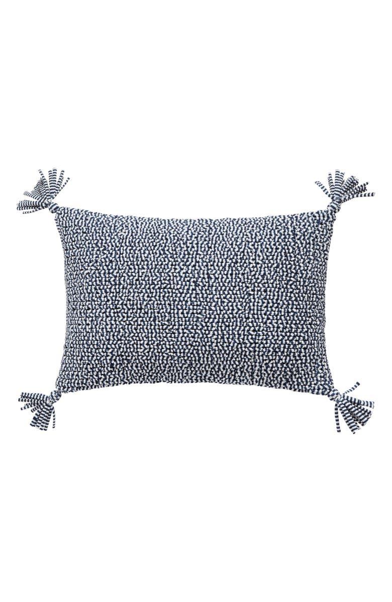 SPLENDID HOME DECOR Stripe Tassel Accent Pillow, Main, color, NAVY/ WHITE