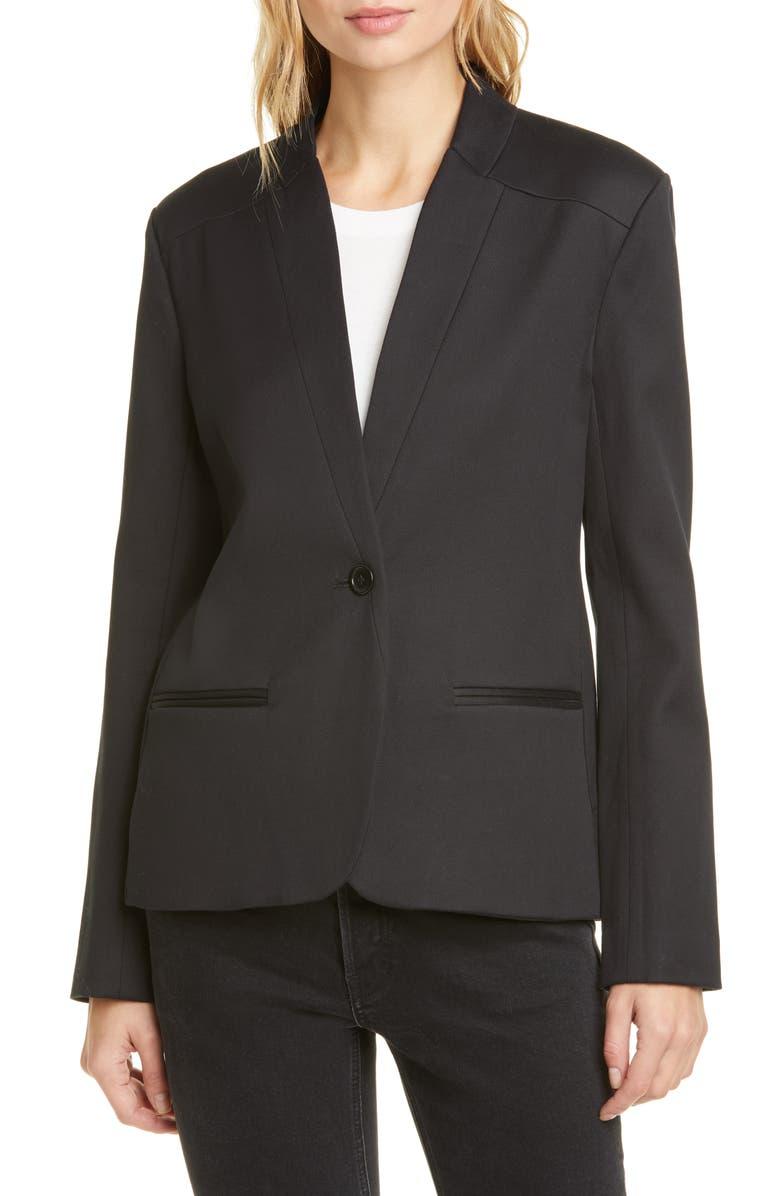 JENNI KAYNE Boy Stretch Cotton Blazer, Main, color, BLACK