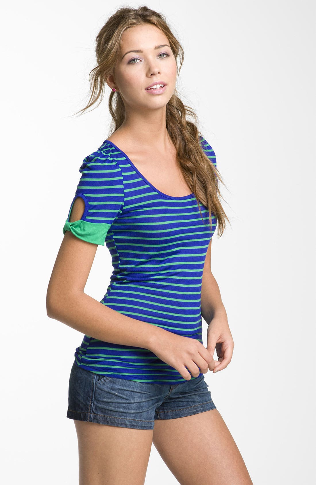 ,                             Cutout Sleeve Tee,                             Main thumbnail 4, color,                             445
