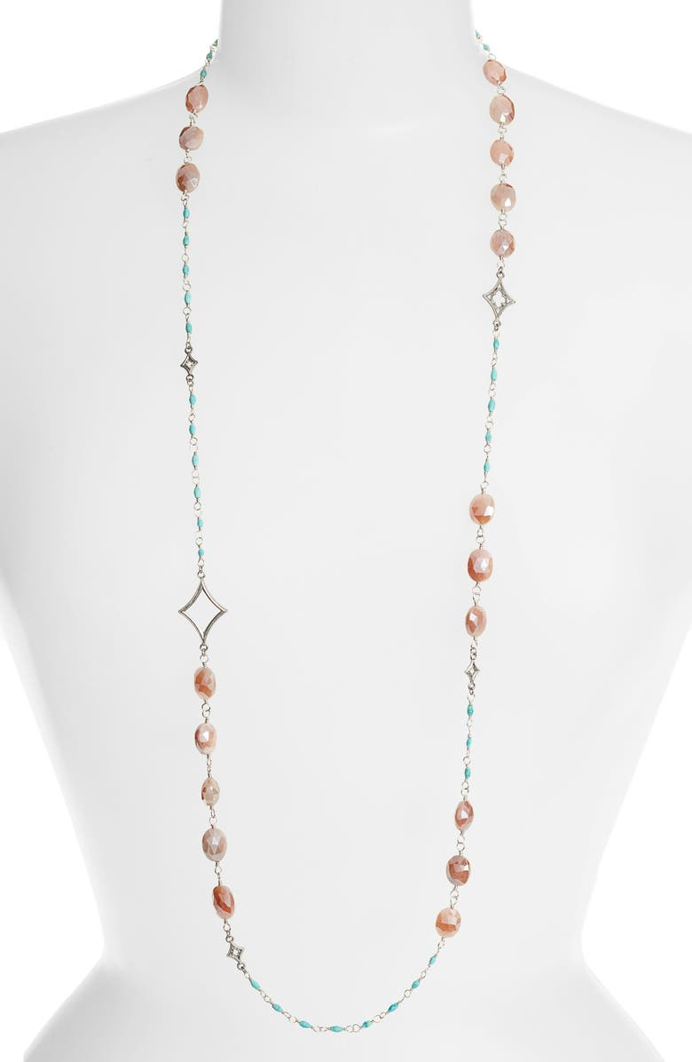ARMENTA New World Long Stone Beaded Necklace, Main, color, SILVER/ TURQUOISE