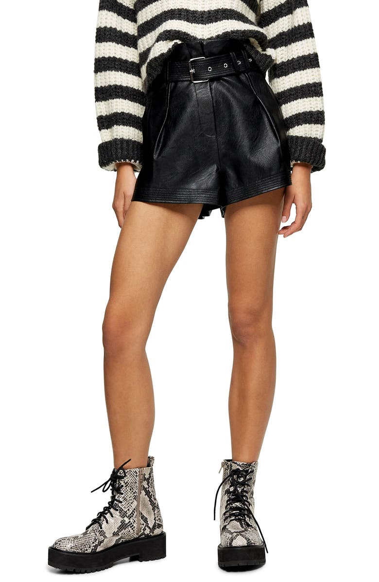 TOPSHOP Belted Faux Leather Shorts, Main, color, 001