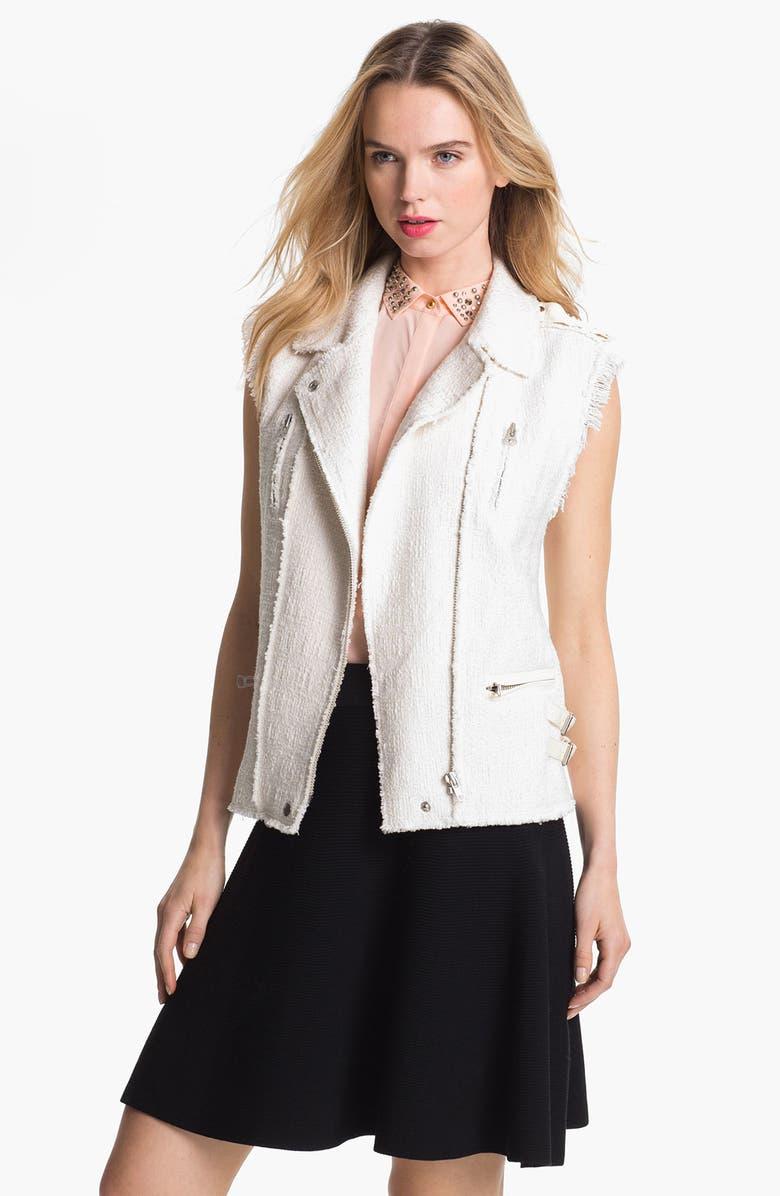 REBECCA TAYLOR Tweed & Leather Vest, Main, color, 250