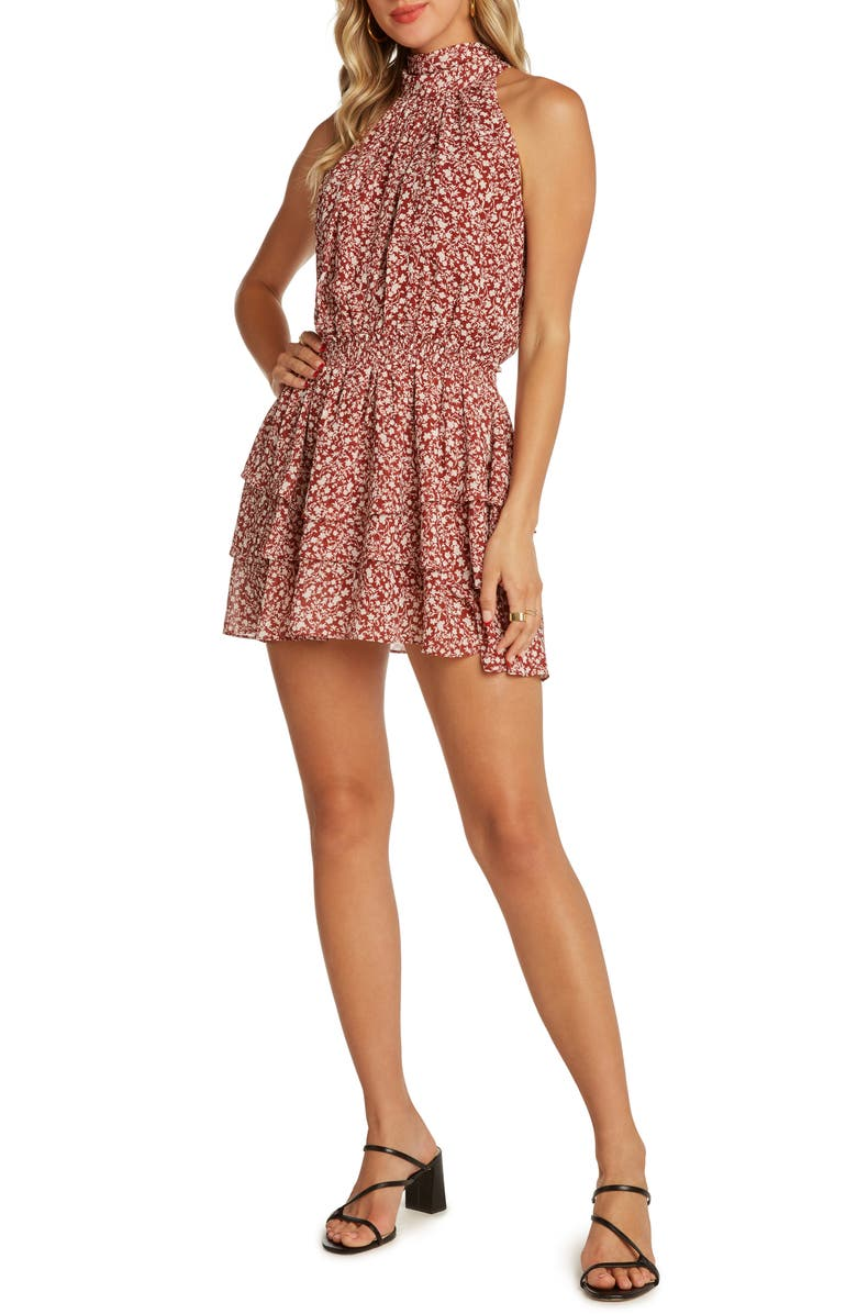 WILLOW Kathleen Sleeveless Halter Minidress, Main, color, BERRY