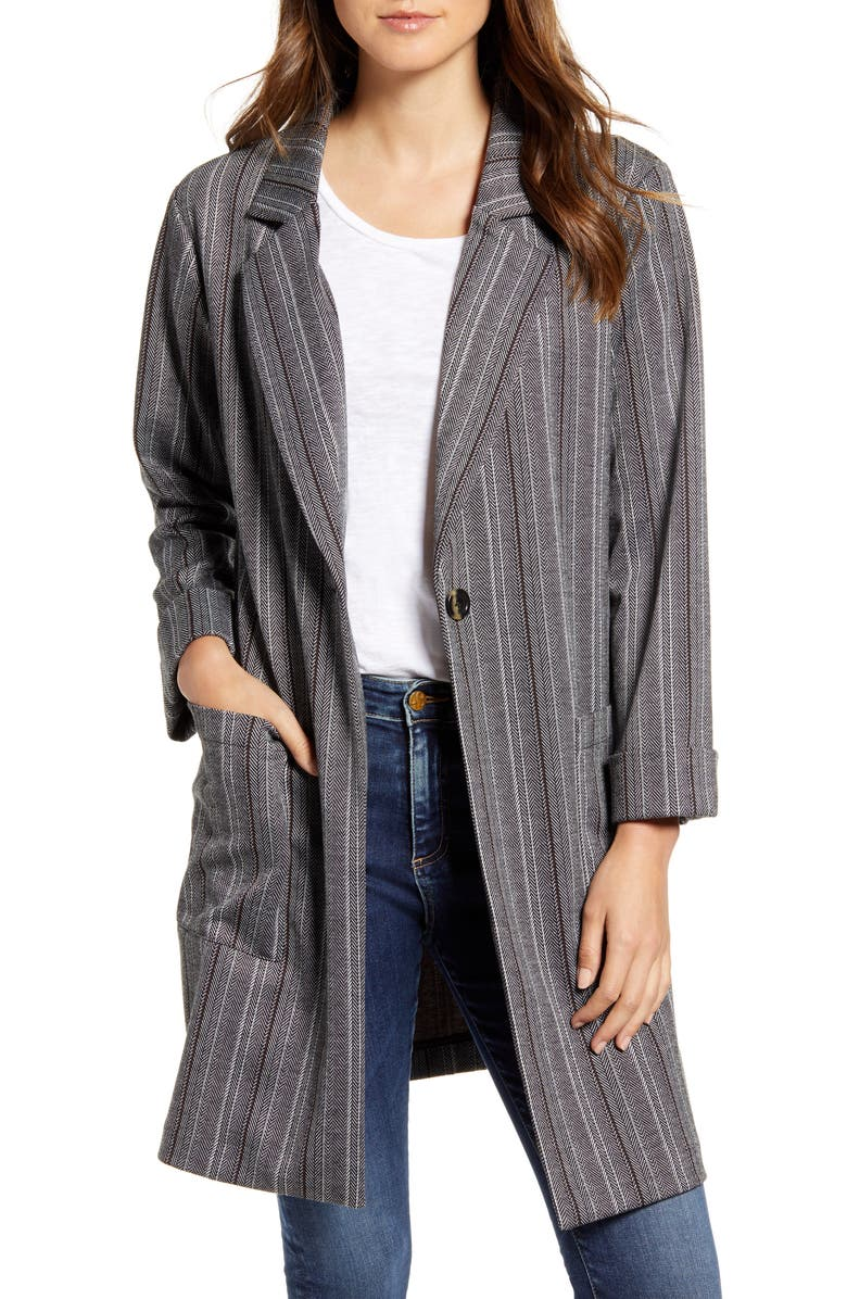 SANCTUARY City Knit Oversize Blazer, Main, color, 001
