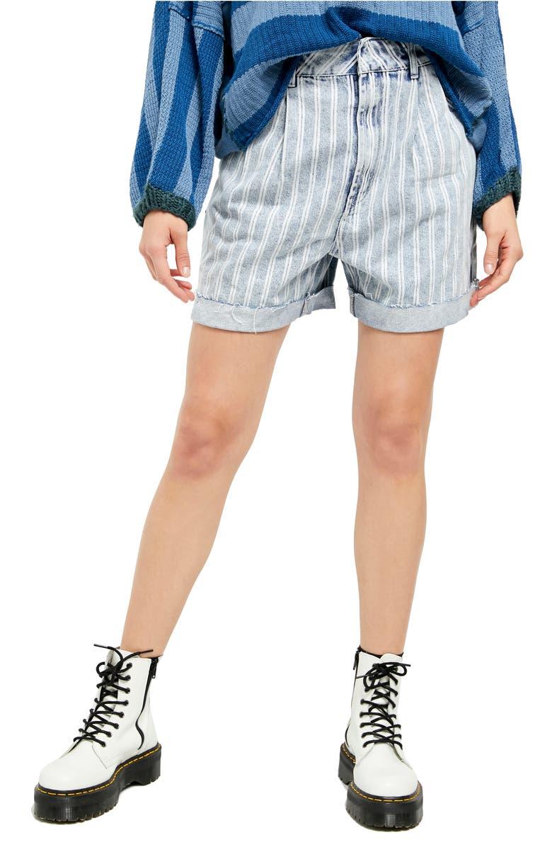 FREE PEOPLE Dogtown Cutoff Denim Shorts, Main, color, INDIGO STRIPE