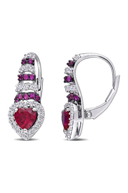 Image of Delmar Sterling Silver Created Ruby Sapphire & Created White Sapphire Halo Drop Earrings