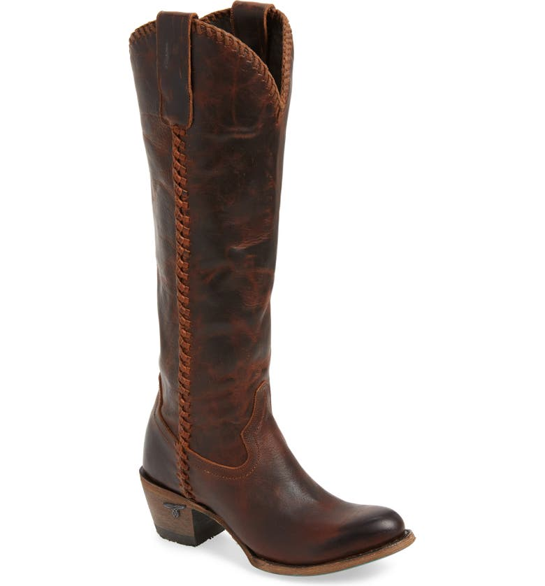 LANE BOOTS Plain Jane Knee High Western Boot, Main, color, COGNAC LEATHER