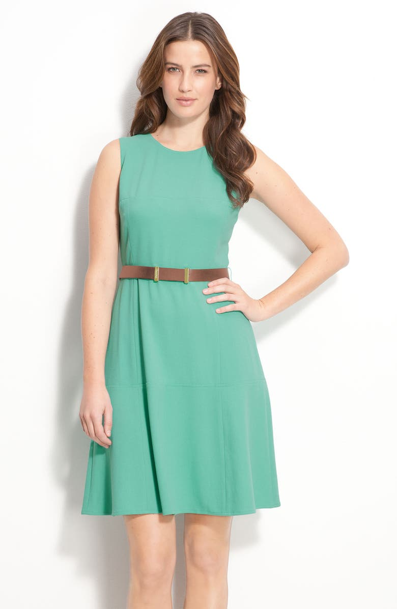 CALVIN KLEIN Belted Dress with Flare Skirt, Main, color, 375