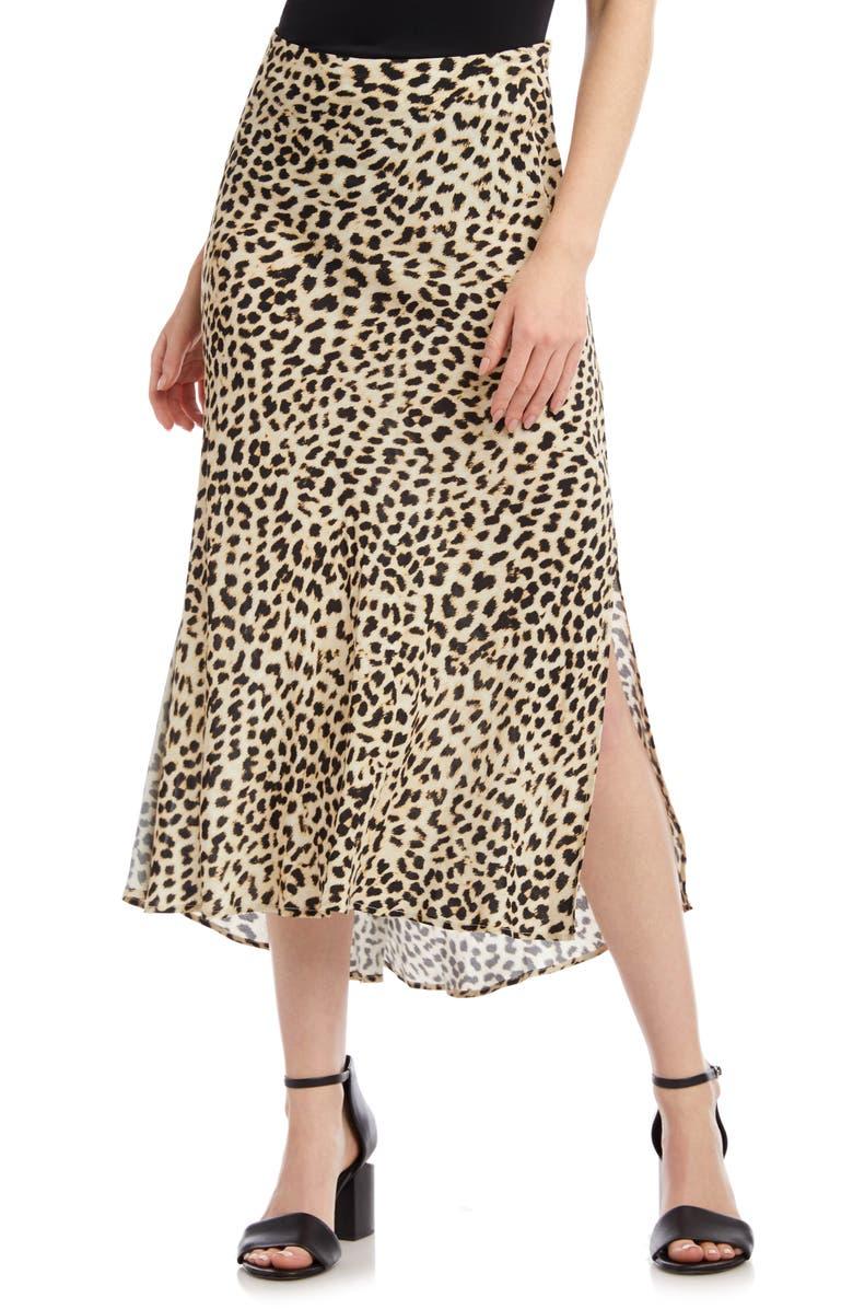 KAREN KANE Leopard Print Bias Cut Skirt, Main, color, CHEETAH