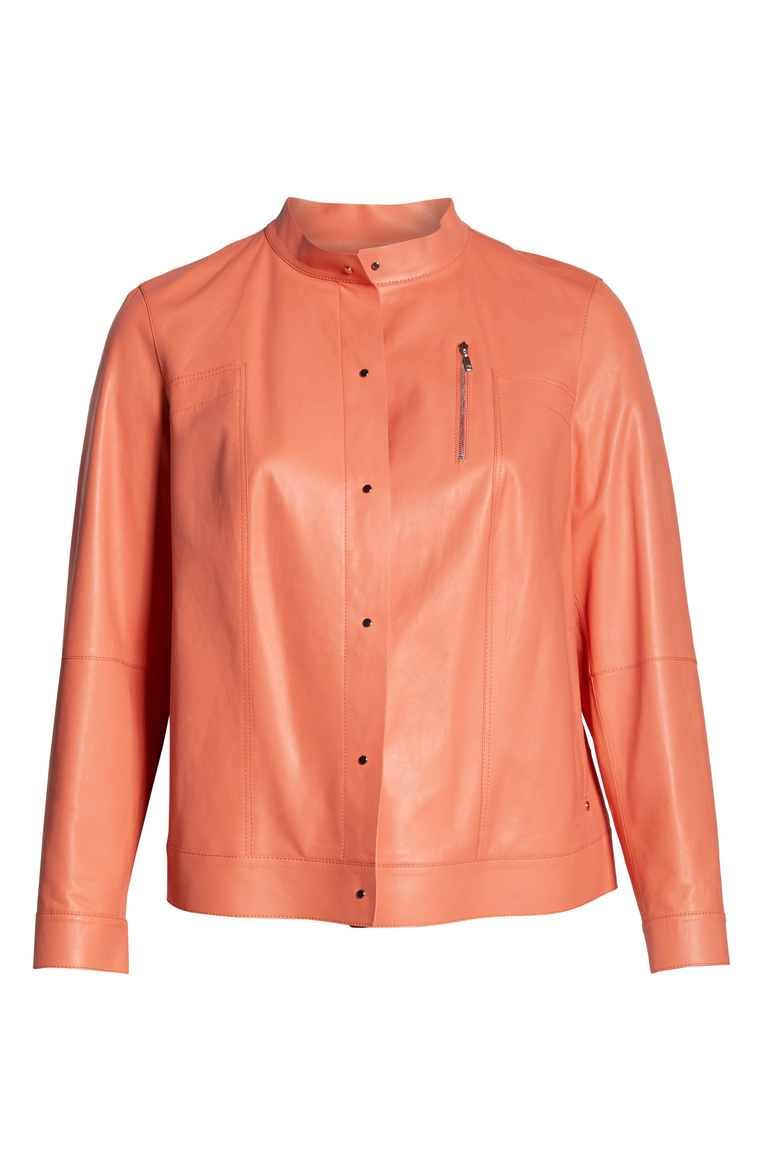 ,                             Galicia Leather Jacket,                             Alternate thumbnail 6, color,                             PEACH ROSE
