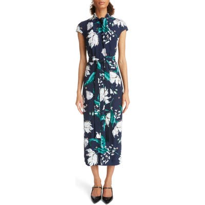 Erdem Embellished Floral Print Woven Dress, US / 10 UK - Blue