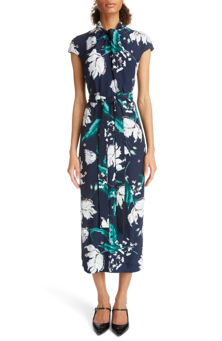 ERDEM Embellished Floral Print Woven Dress, Main, color, NAVY/ TEAL