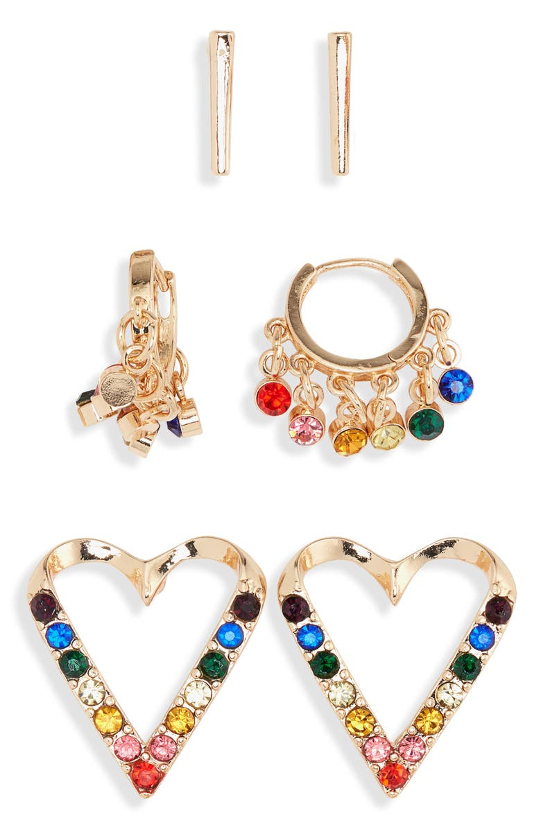 BP. 3-Pack Rainbow Heart Earrings, Main, color, PURPLE MULTI- GOLD